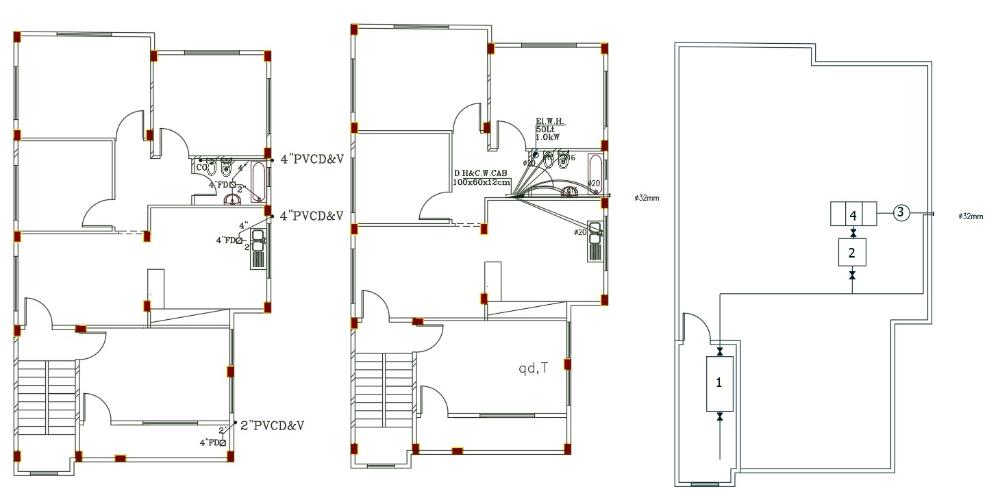 3 Bhk House Plumbing Plan Dwg File Simple House Design House Plans House Design