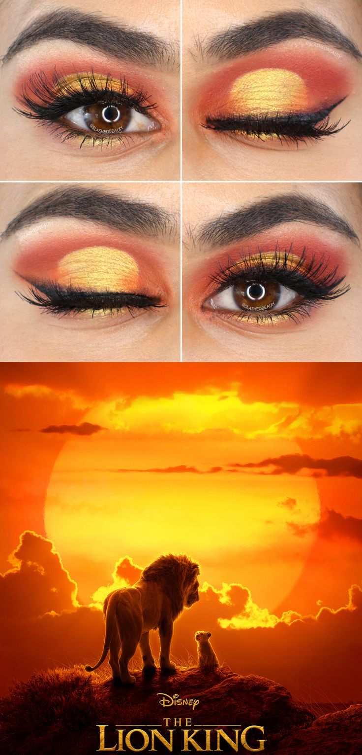 This sunset eyeshadow look is inspired by the new live action Lion King movie poster! Watch the eyeshadow tutorial on YouTube. | Makeup Tutorials | Cut Crease | Orange Eyeshadow | Sunset Makeup #eyeshadowlooks