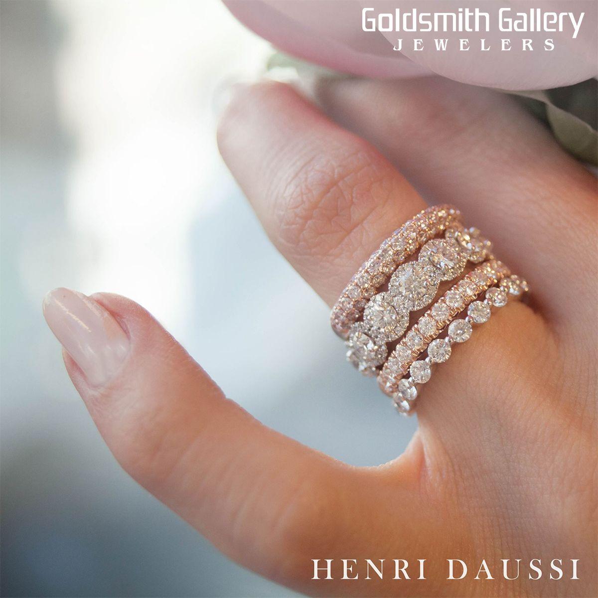 Henri Daussi Engagement Ring And Wedding Band Stack