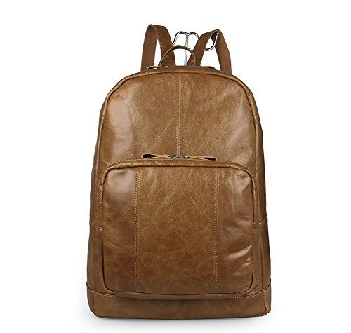 Brown Leather Backpack With Padded Laptop Sleeve Backpacks Retro