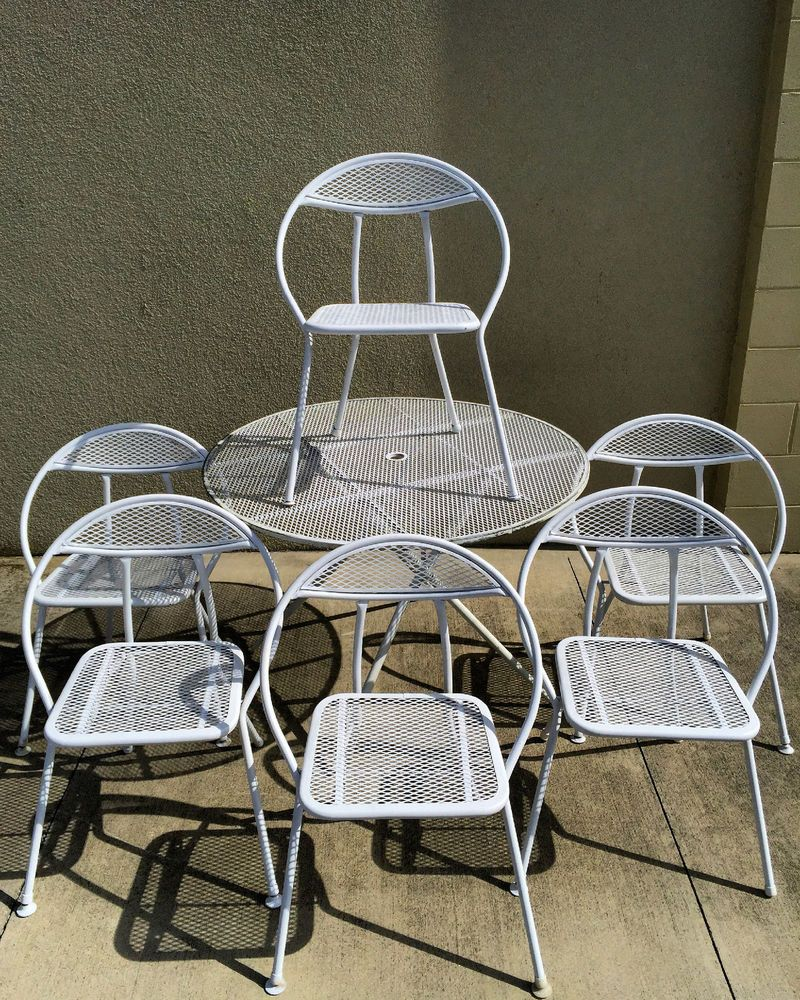 Vintage Mid Century Modern Folding Patio Table 6 Round Chairs
