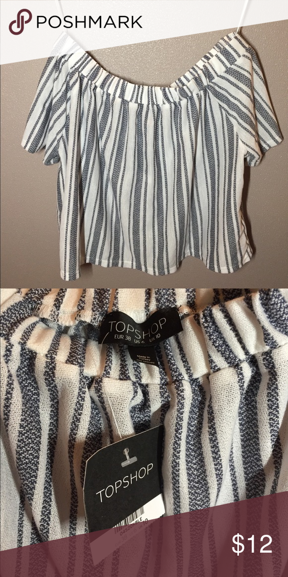 0e5c4165cc4b88 Topshop Striped Off-shoulder Top Brand new Topshop striped off the shoulder  top! (elastic top band) Topshop Tops Blouses