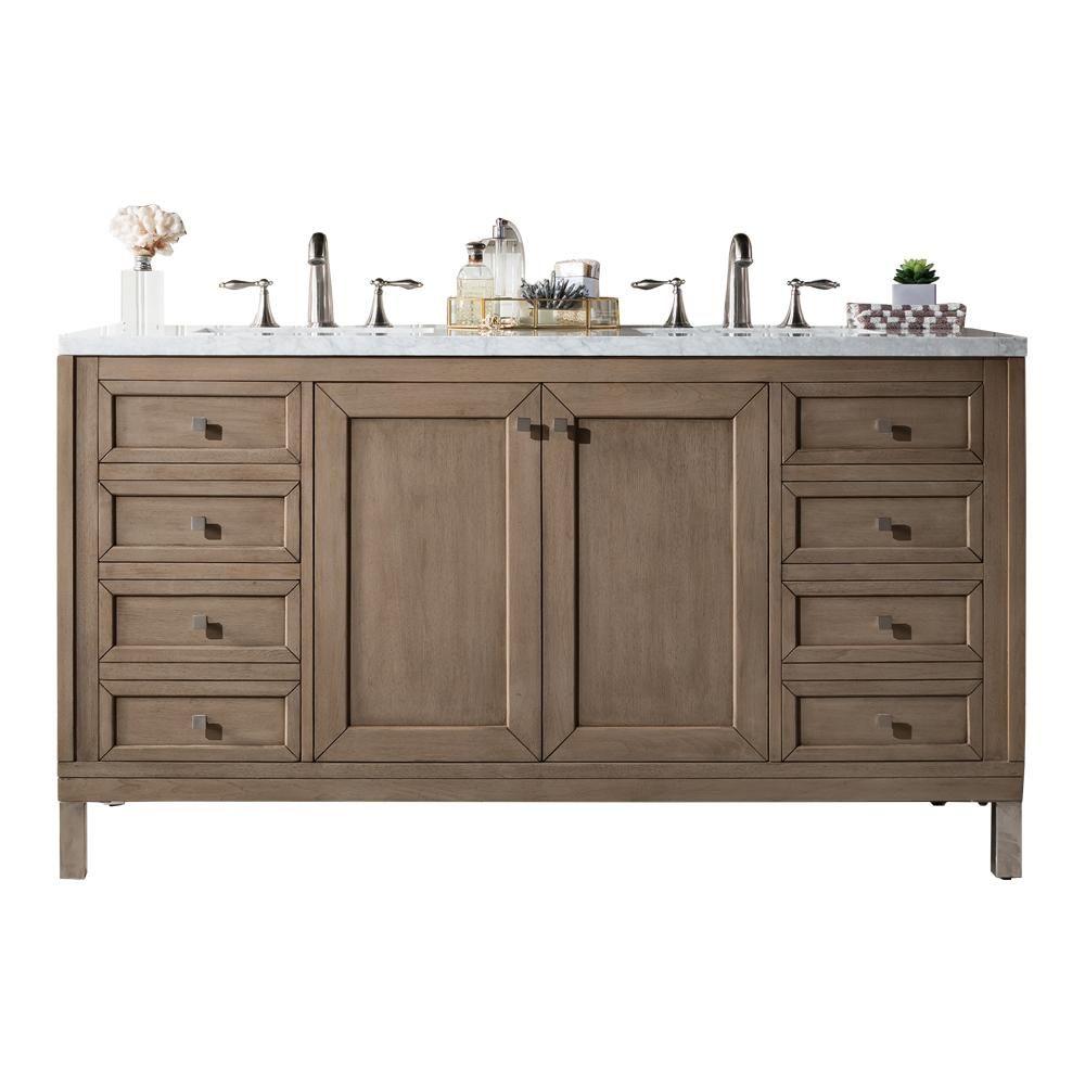 60 Chicago Whitewashed Walnut Double Sink Bathroom Vanity In 2020