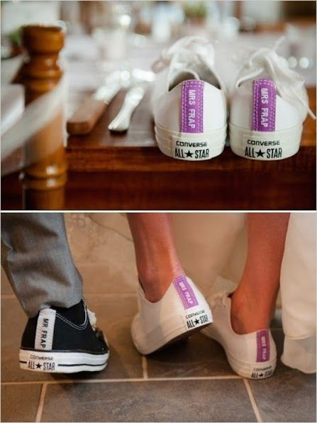 7dd93c833500 Wear your new name loud and proud on the heel of your wedding sneakers. You  can strut down the aisle comfortably or wear these just for the dancing  portion ...