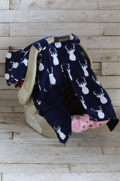 Description One of our new Car Seat Canopies is a must have. Featuring trendy deer print on one side and super soft minky fabric on the other theu2026 & Description: One of our new Car Seat Canopies is a must have ...