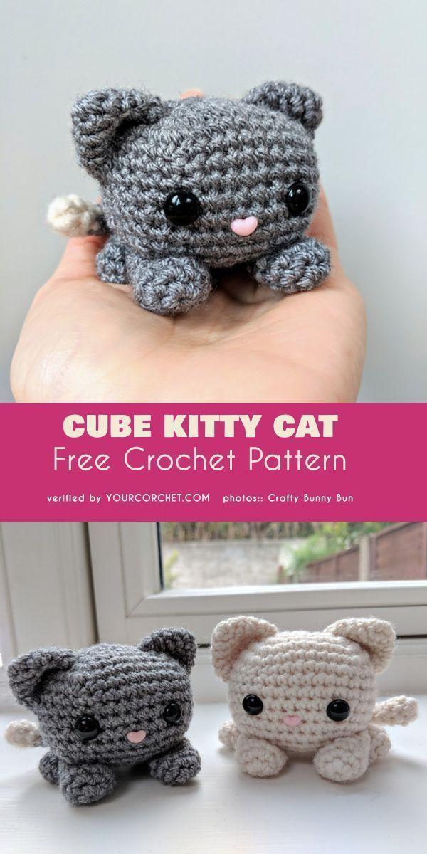 Cube Kitty Cat Amigurumi Gratis Häkelanleitung Amigurumi Cat Crochet Cube   – Katzen