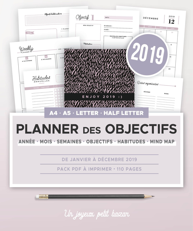Semaine 45 Calendrier.Planner Des Objectifs 2019 A Imprimer Calendrier Annuel Et