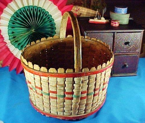 Antique-c-1930-Painted-Woven-Splint-Basket-Rockingham-Co-VA-Red-White-Blue