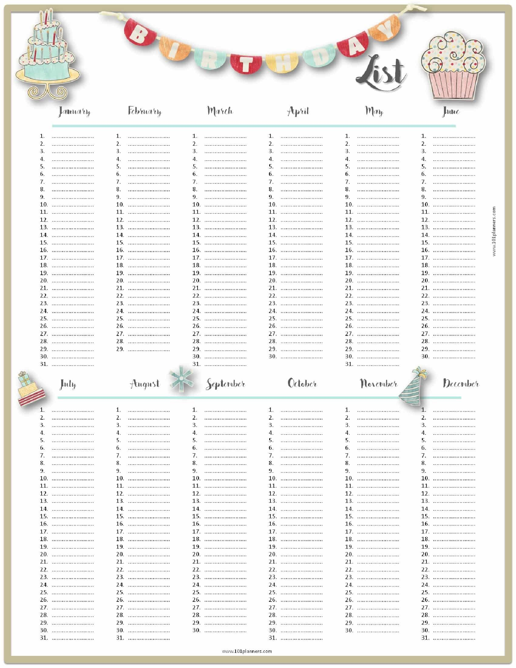 Free Birthday List Template Customize Then Print Birthday Calendar Birthday List Free Birthday Stuff Birthday wish list template printable