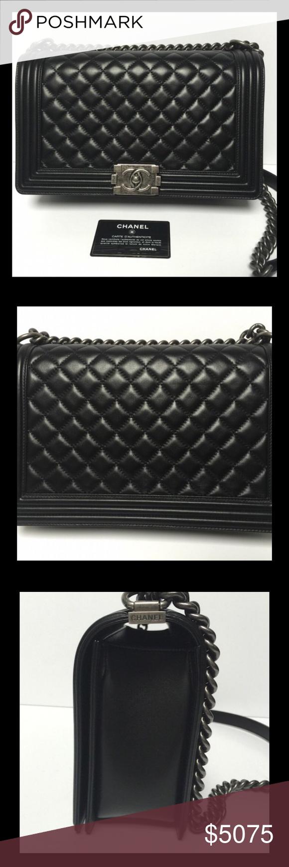 043360dc294a CHANEL BOY NEW MEDIUM BLACK LAMBSKIN RUTHENIUM HW Chanel Boy New Medium in  Black Lambskin with