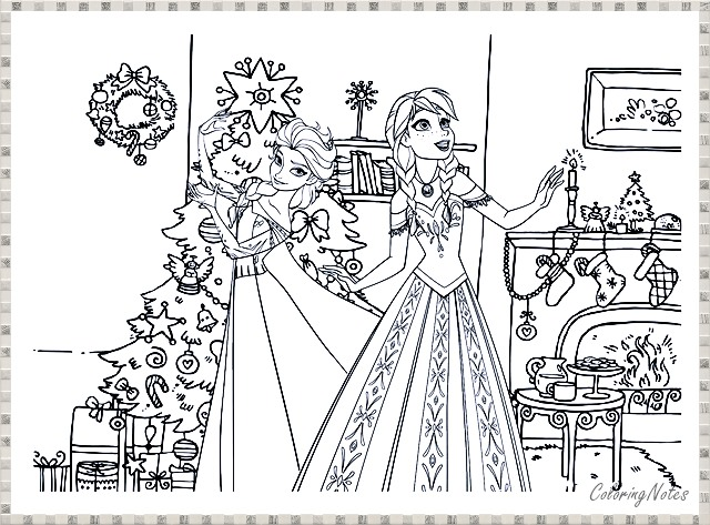 Cute Elsa Anna Christmas Coloring Pages Free For Kids Christmas Colors Coloring Pages Christmas Coloring Sheets