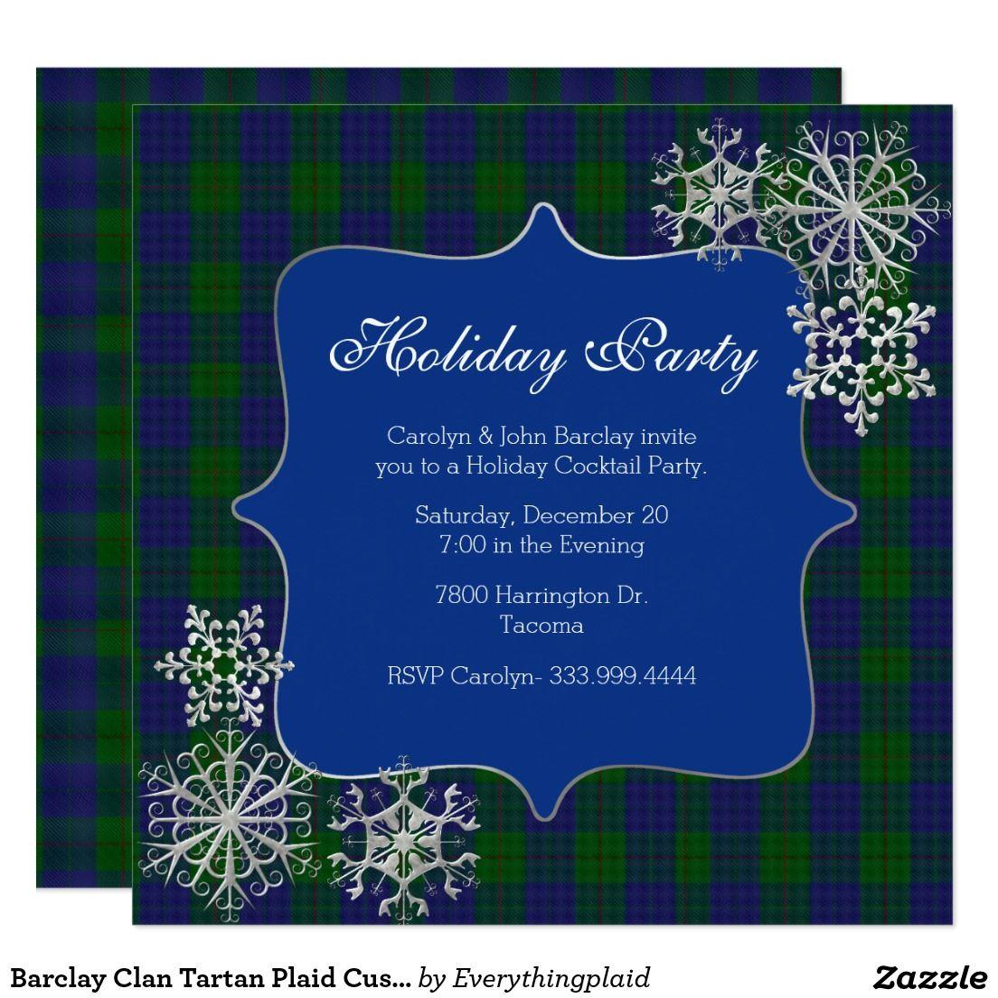 Barclay Clan Tartan Plaid Custom Christmas Party Card | Christmas ...