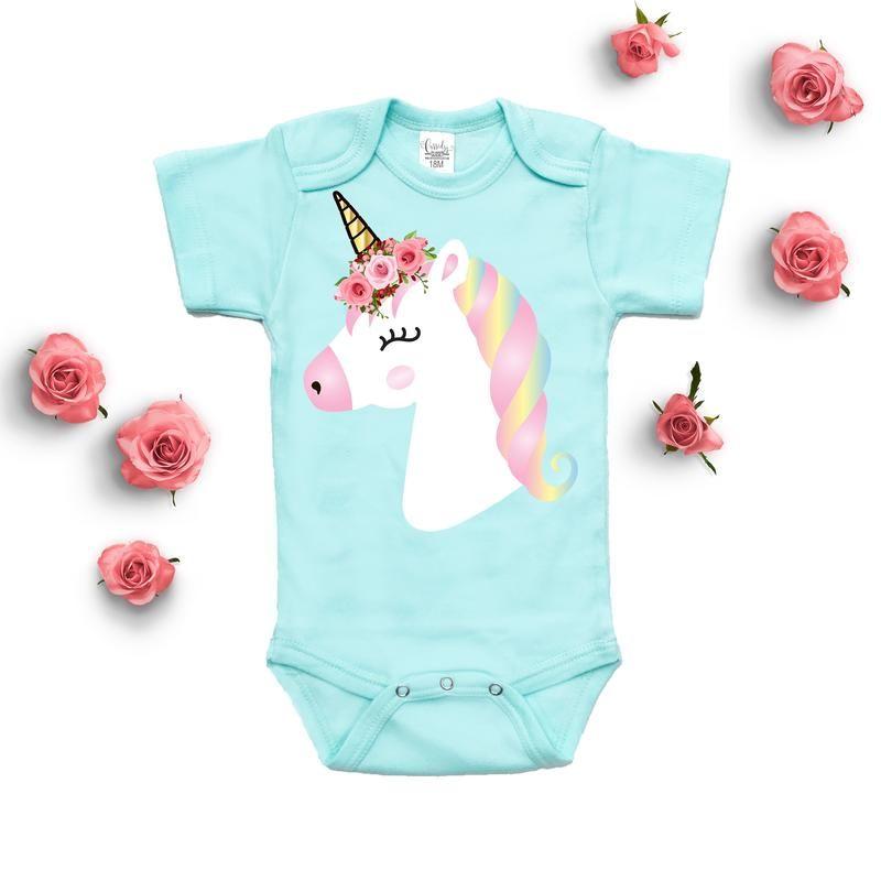d83b75d7e54 Baby Clothes - Unicorn Floral Mint Bodysuit