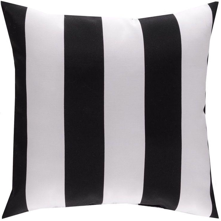 Awning Stripe Throw Pillow 16 X 16 Onyx Black Stripe Throw Pillow Throw Pillows Striped Throw