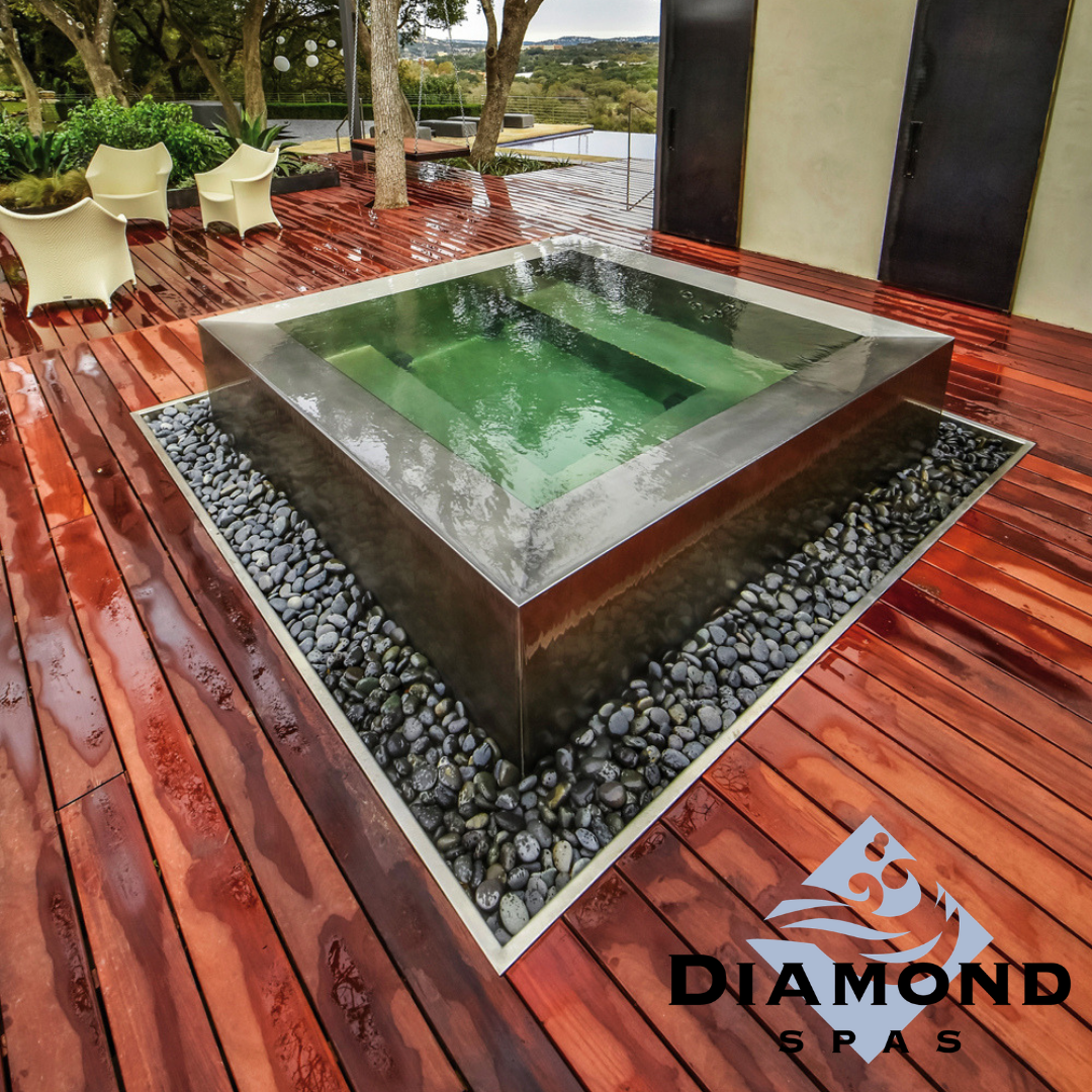 Beautiful Water Feature Or Relaxing Hot Tub Why Not Both Copperwaterfeature Customcopper Custo Hot Tub Outdoor Hot Tub Landscaping Luxury Hot Tubs