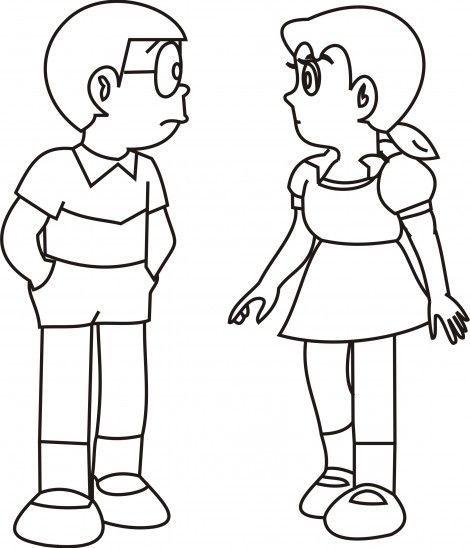 Shizuka And Nobita Free Colouring Picture To Print Cute Cartoon Drawings Drawing Cartoon Characters Sketches Disney Drawings Sketches