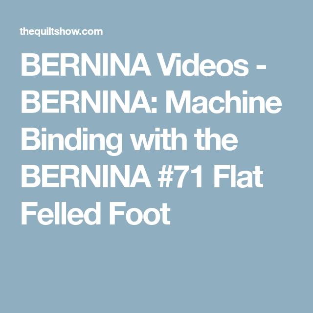 BERNINA: Machine Binding With The BERNINA