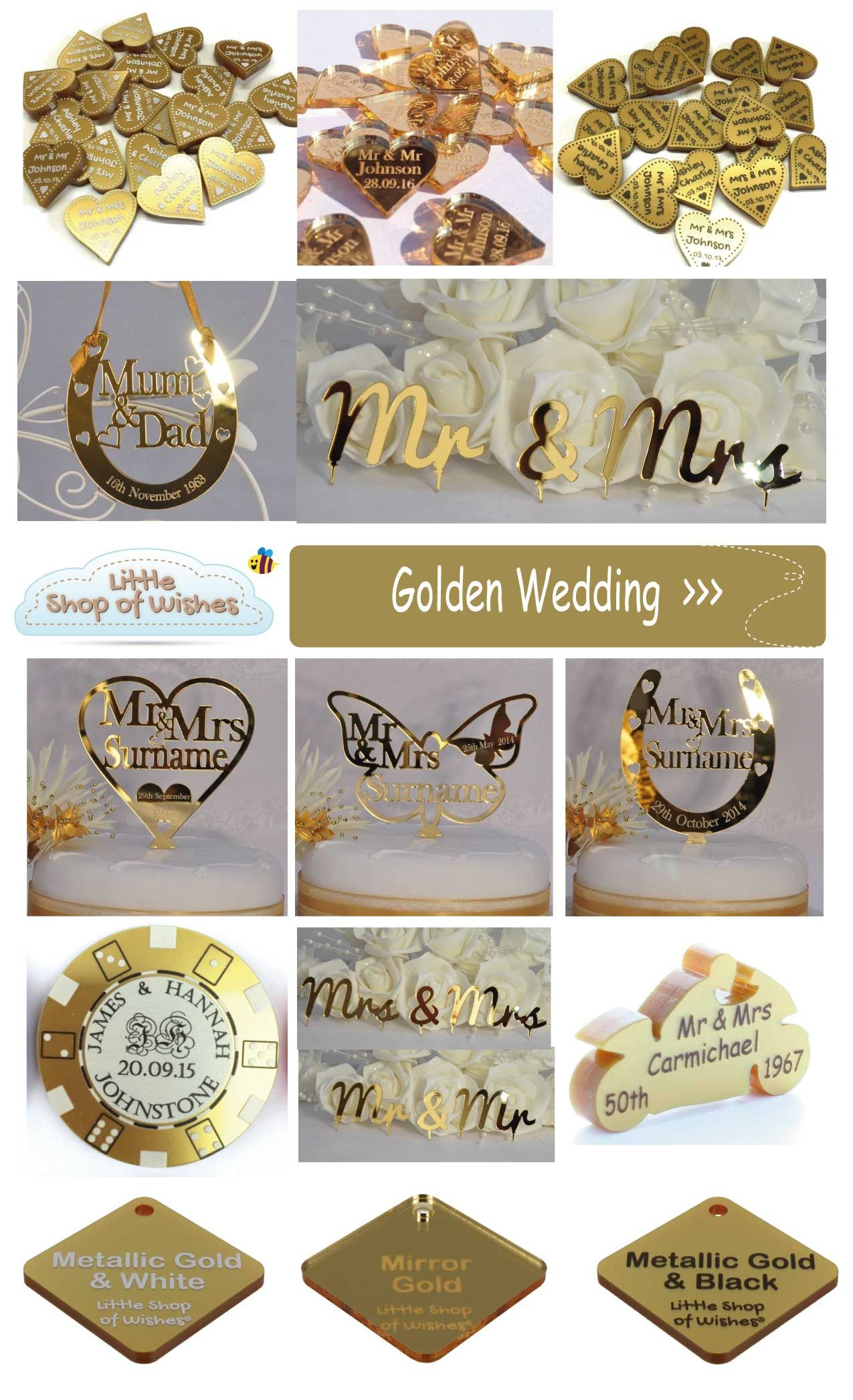 50th Golden Wedding Anniversary Gift Ideas For Your Parents And Grandp Golden Wedding Anniversary Gifts Golden Wedding Anniversary Party 50th Anniversary Cakes