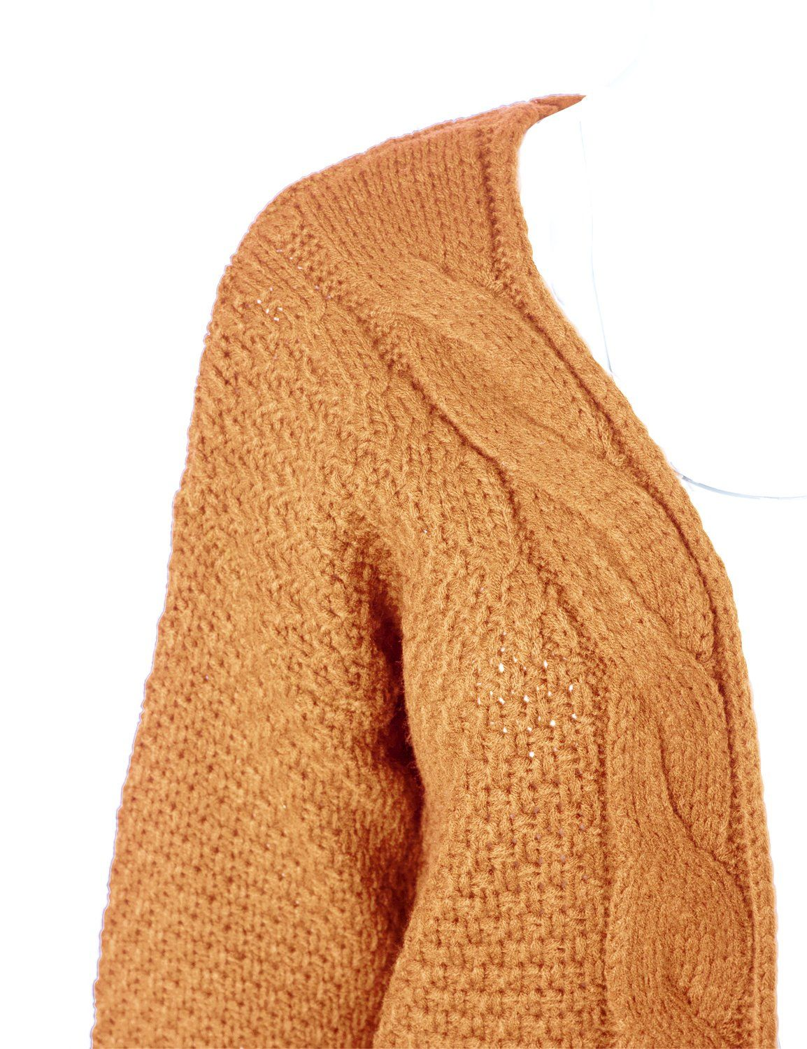MAYSIX APPAREL Women Stylish Cotton Cable Knit Open Sweater Long Sleeve  Chunky Cardigan W Pocket Mustard ML   Click image for more details. a031e5aa7