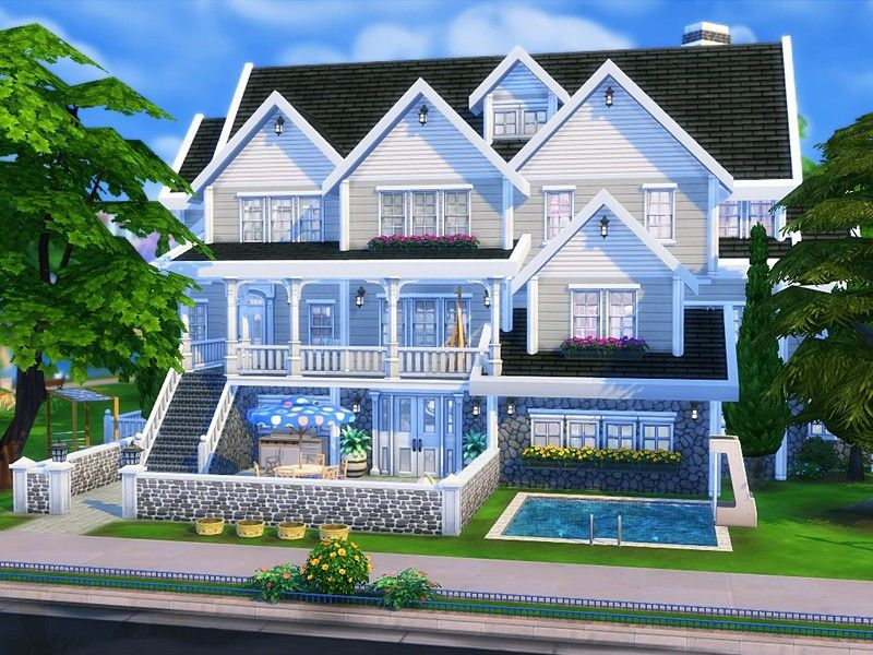 American Dream Is A Huge Suburban Family Home Built On 30x30 Lot In Newcrest Found In Tsr Category Sims 4 Residential Sims Building Sims House Sims 4 Family