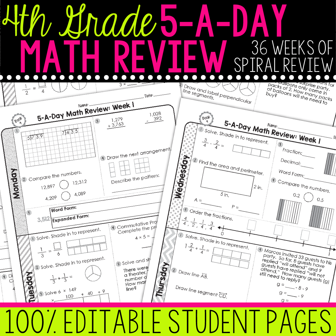 4th Grade Daily Math Spiral Review In
