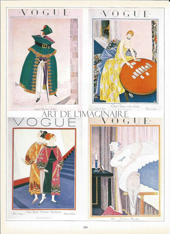 VINTAGE VOGUE4 Vogue Covers on one page from by ArtdeLimaginaire