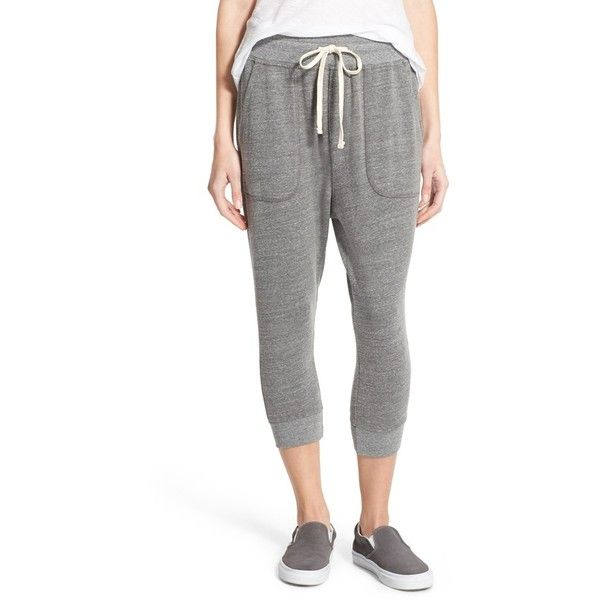 Sundry High Rise Crop Jogger Pants (£80) ❤ liked on Polyvore featuring activewear, activewear pants and heather grey