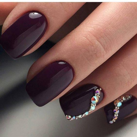 Simple Bling Nail Design Rhinestone Nails Bling Nails Nail Designs