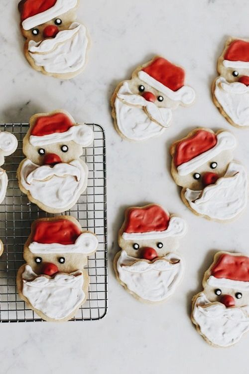 Cute Santa Cookies   Theme | Holidays   Christmas   Inspiration   Idea    Ideas