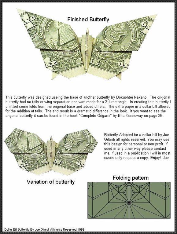Dollar Bill Butterfly Origami Tutorial | Dollarschein origami ... | 766x579