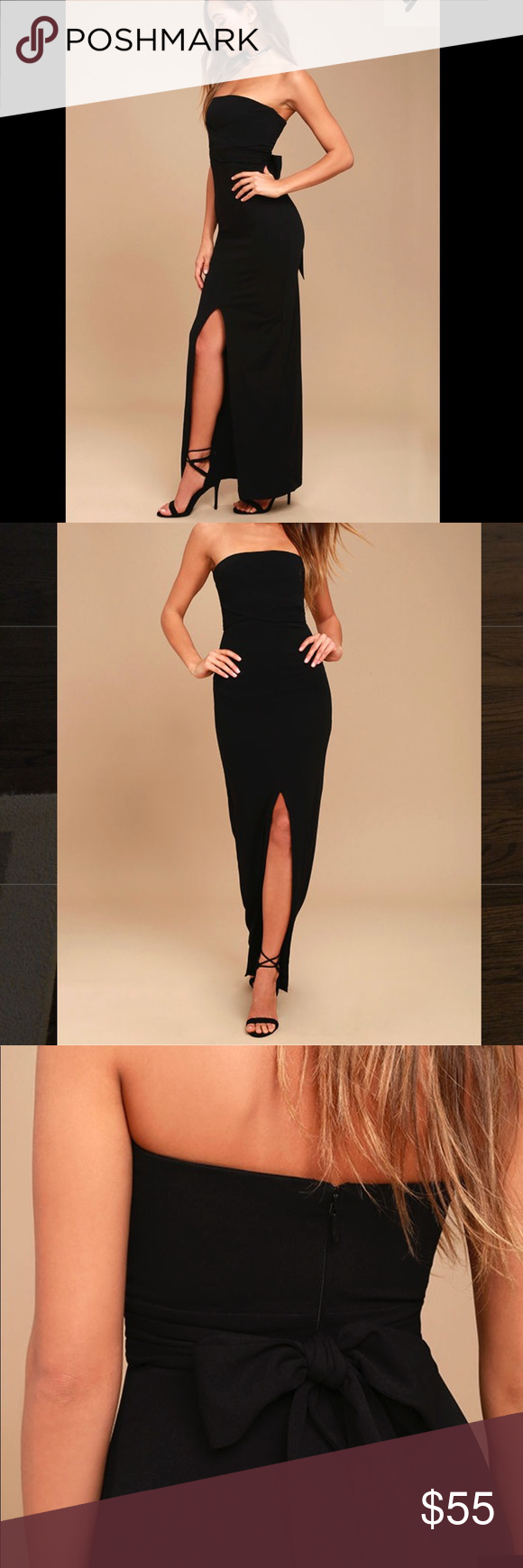 """Black Lulu s strapless maxi dress Lulu s """"Own the Night"""" dress is gorgeous  for any occasion when you need to get glam. Size small. Has a slit in the  front 1beda47a9"""
