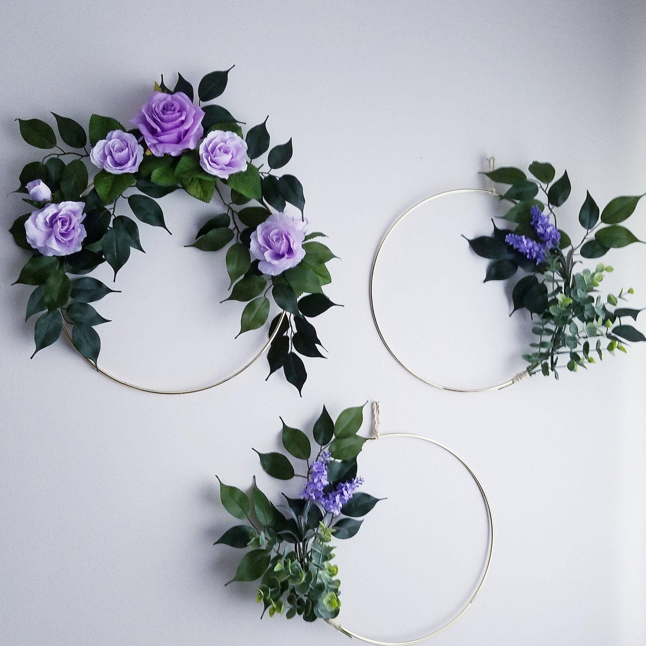 Photo of Modern wreath set, set with three wreaths, purple tire wreaths, purple nursery