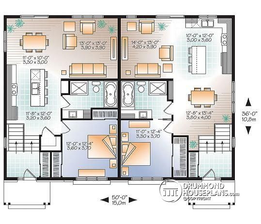Discover The Plan 3049 V1 Lucinda 2 Which Will Please You For Its 3 Bedrooms And For Its Rustic Styles Duplex House Plans House Plans Duplex Floor Plans