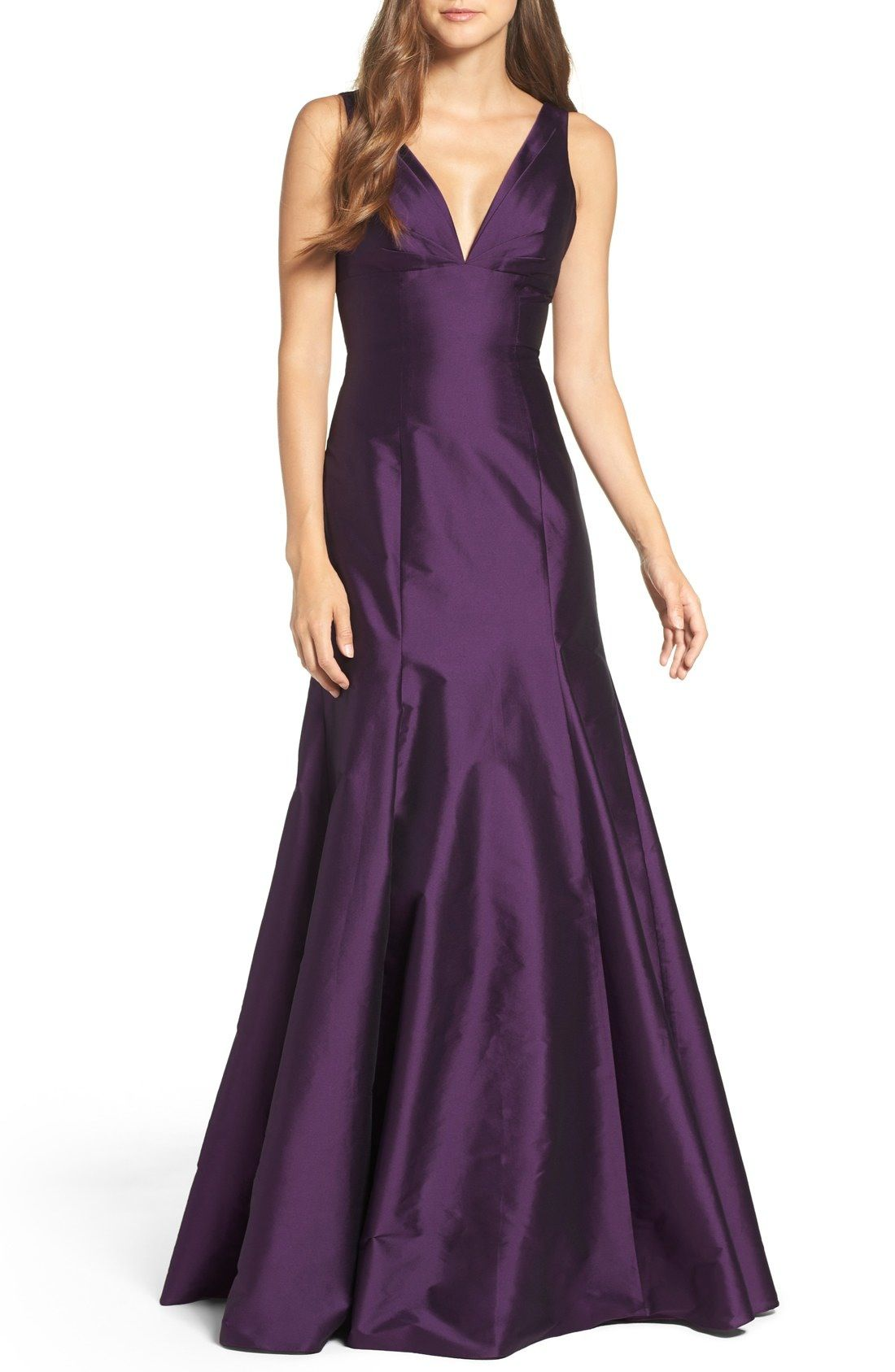 Monique Lhuillier Bridesmaids Deep V Neck Taffeta Trumpet Gown Available At Nordstrom