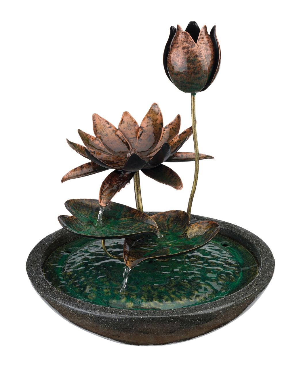 Trickling Lotus Fountain 14 Inches Boho Chic Fountain