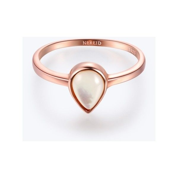 Rose Gold Teardrop Ring With Pearl 20 liked on Polyvore