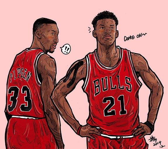 Jimmy Butler X Scottie Pippen Second Coming Illustration Scottie Pippen Basketball Drawings Nba Art