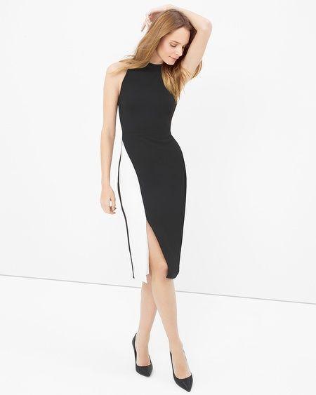 White House Black Market Colorblock Contrast Sheath Dress Whbm