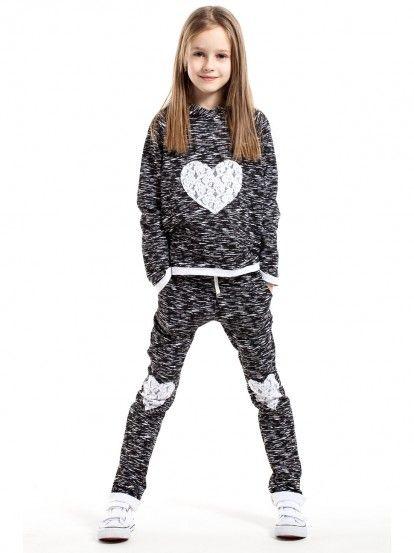 4936b789b677 Dječja sportska bluza dugih rukava za djevojčice KIDIN - crna melanž Kids  Fashion