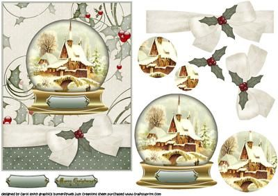 Christmas vintage scene snowglobe on Craftsuprint designed by Carol Smith - a vintage scene christmas snowglobe globe is pyramaged, ribbon trim is decoupaged matching tag says merry christmas also blank tag for the greeting of your choice - Now available for download!