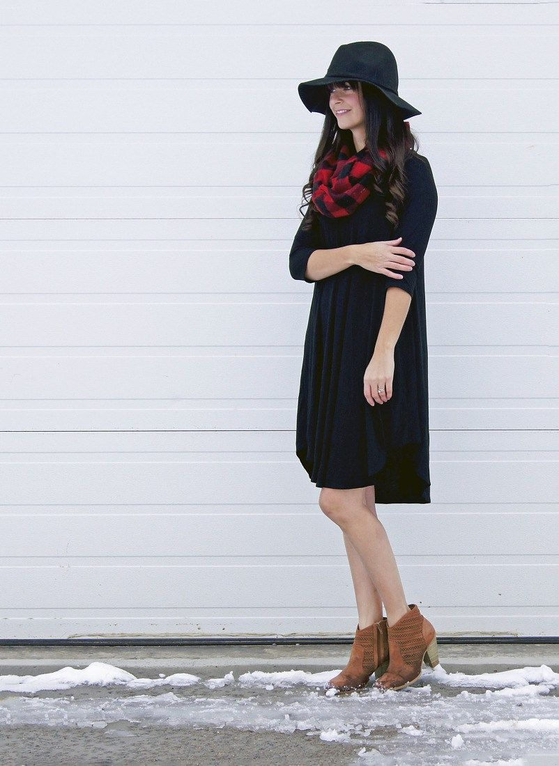 Black Dress with buffalo plaid scarf and booties