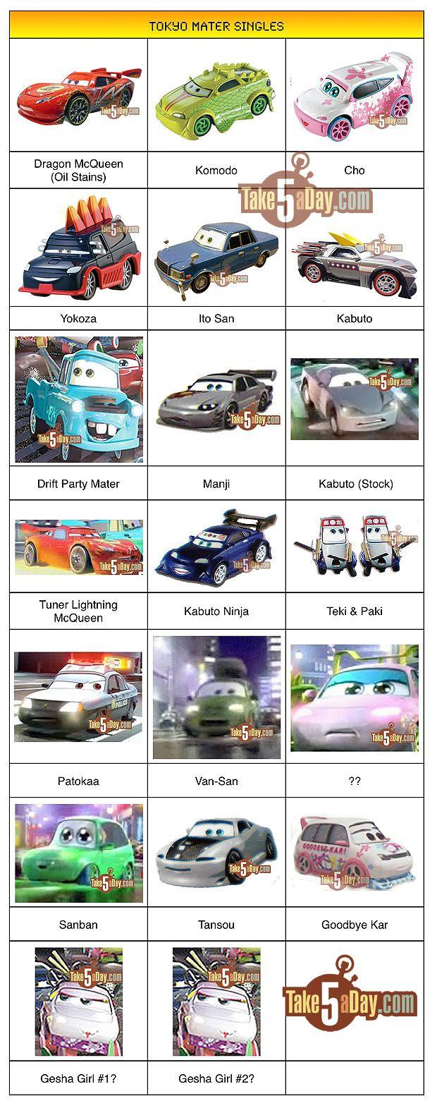 Mattel Disney Pixar Diecast Cars Tokyo Mater Singles Names To