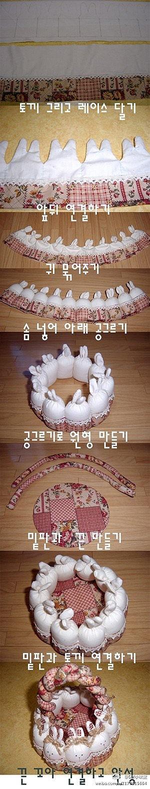 手工DIY 编织-兔子菜篮