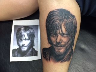Tattoo of norman reedus as daryl dixon on the walking dead for Tattoo shops in norman