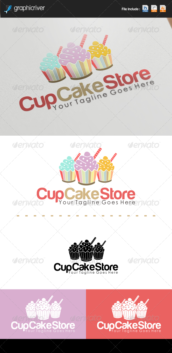 Cup Cake Store Logo Cup Cakes Cake Stores And Symbol Logo