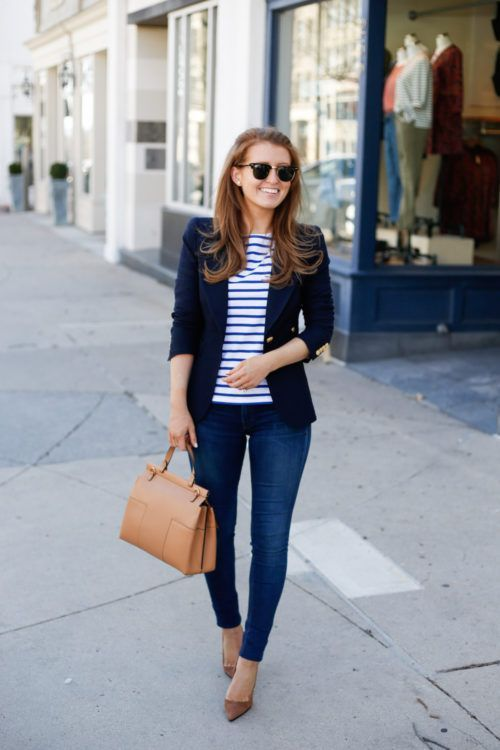 a7b5c03cfc1b 15 stylish navy blazer summer outfits to wear at work   Spring and ...
