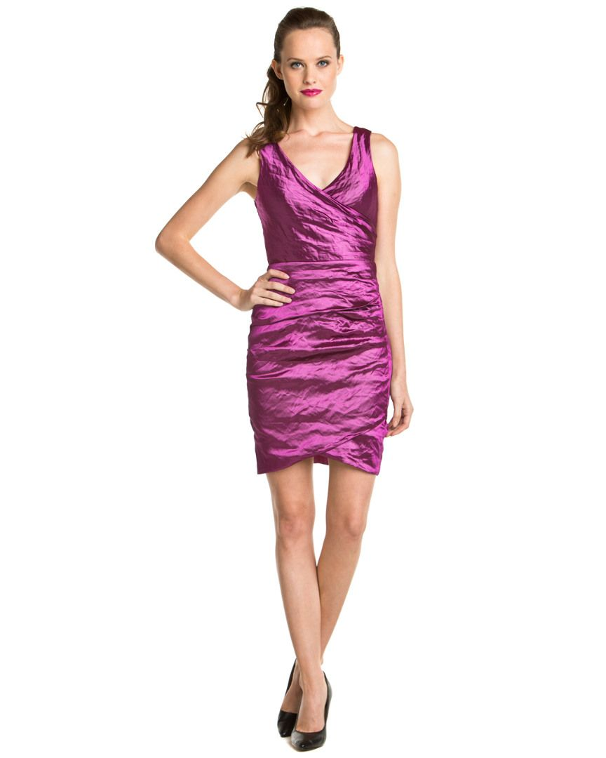 Nicole Miller Stretch Magenta Metallic Surplice Dress DressWomen ...