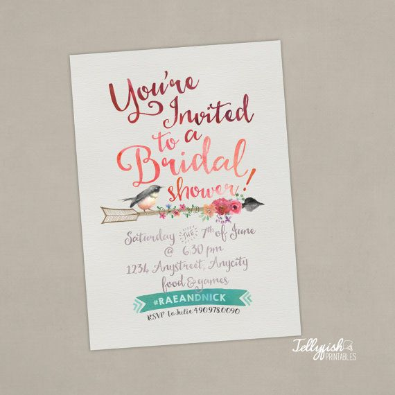Bride to Be Announcement & Bridal Shower by JellyfishPrintables