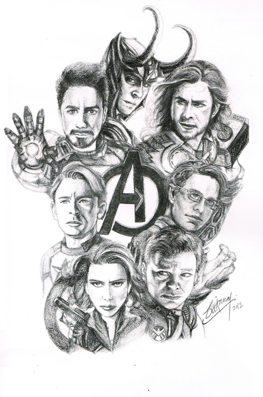 Sketch of the Avengers & the way-too-awesome-to-be-left-out-Loki :) Awesome sketch!