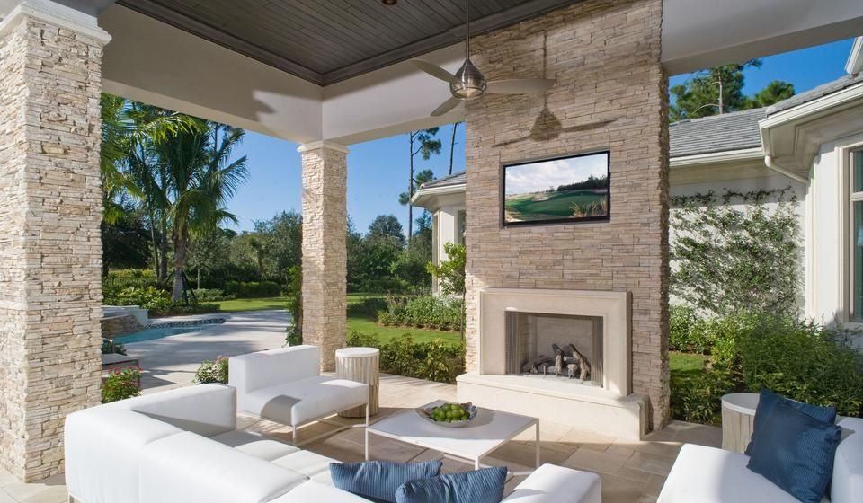 lounge area, outdoor living space, palmtrees, stucco and stacked ... - Patio Tv Ideas